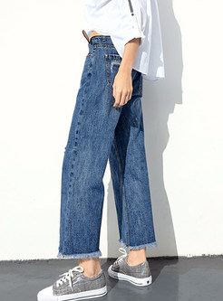 Stylish Loose Holes Rough Selvedge Wide Leg Denim Pants