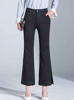Brief Solid Color High Waist Slit Flare Pants