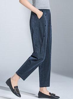 Trendy Elastic High Waist Pocket Long Harem Pants