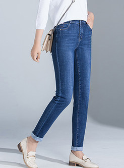 Casual High Waist Slim Denim Pencil Long Pants