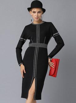 Color-blocked O-neck Long Sleeve Slit Knitted Dress