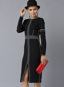 Color-blocked O-neck Long Sleeve Slit Knitted Dress