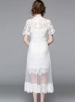 V-neck Sleeveless Print High Waist Mesh Skater Dress