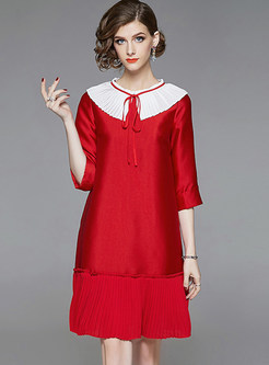 Color-blocked O-neck Three Quarters Sleeve Shift Dress