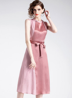 O-neck Sleeveless Bowknot Waist A Line Dress