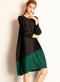 Color-blocked O-neck Long Sleeve Loose Shift Dress
