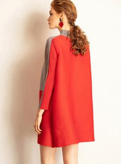 Color-blocked Half High Neck Print Shift Dress