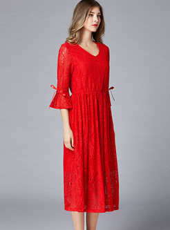 Red V-neck Flare Sleeve High Waist Skater Dress