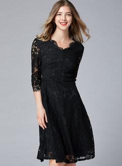Black V-neck Three Quarters Sleeve Waist Skater Dress