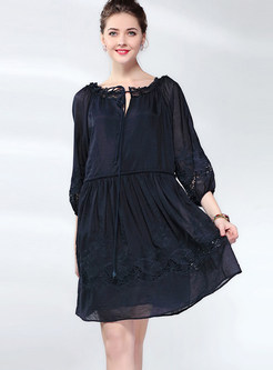 Retro V-neck Tied Loose Big Hem Shift Dress