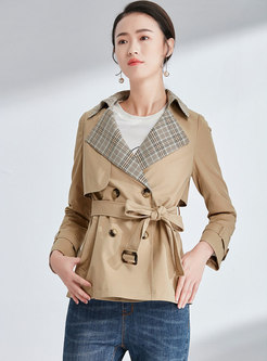 Plaid Splicing Notched Belted Double-breasted Trench Coat