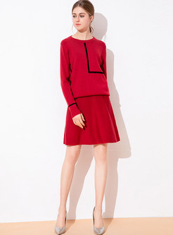 Color-blocked O-neck Loose Knitted Sweater & Mini Skirt