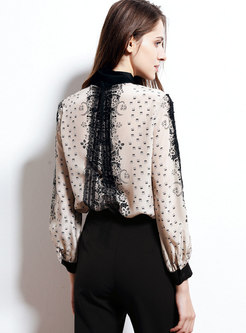 Chic Lace Splicing Print Lapel Single-breasted Blouse