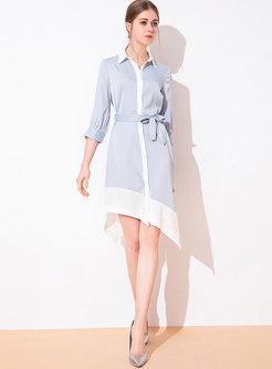 Color-blocked Lapel Belted Asymmetric Dress