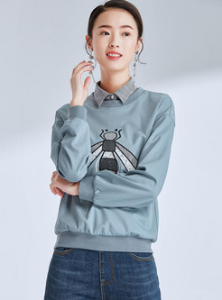 Stylish Splicing Lapel Cartoon Pattern Loose Sweatshirt