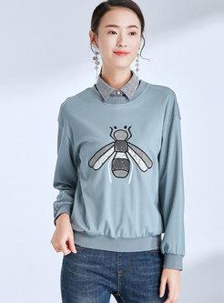 Stylish Splicing Lapel Cartoon Pattern Loose Sweatshirt