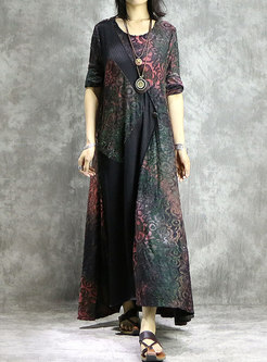 Vintage Print Splicing O-neck Hem Maxi Dress