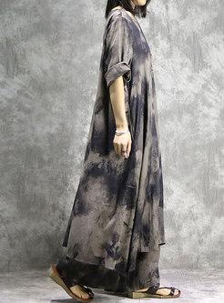 Retro Print O-neck Slit Loose Dress & Wide Leg Pants