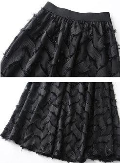 Elegant Black Elastic Waist Tassel Hem Skirt