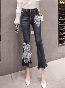 High Waist Beaded Flower Irregular Selvedge Flare Pants