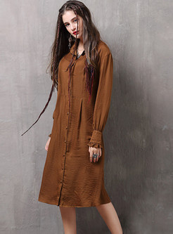 Casual Lapel Solid Color Long Sleeve Shirt Dress