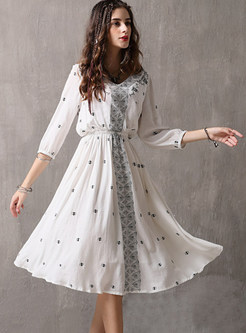 White V-neck Embroidered Waist Big Hem Dress
