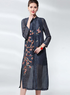 Retro Long Sleeve Embroidered Shift Dress With Sling