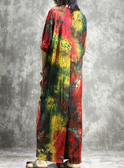 Multi Color Print O-neck Slit Ankle-length Loose Dress