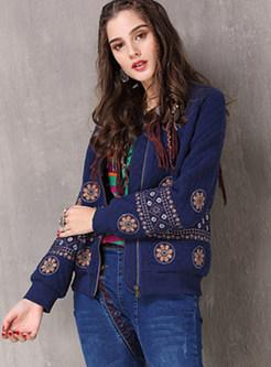 Vintage V-neck Embroidered Short Print Zippered Coat