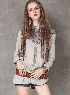 Retro Embroidery Stand Collar Blouse