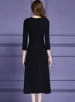 Fashionable Embroidered O-neck Slim Maxi Dress