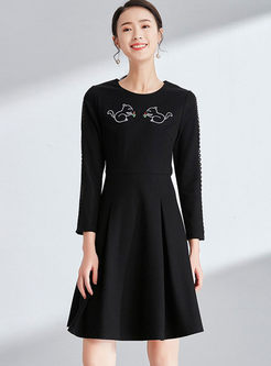 Brief Embroidered Hollow Out High Waist A Line Dress