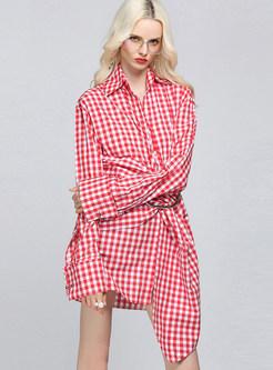 Chiffon Grid Print Lapel Asymmetric Shirt Dress