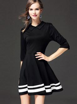 Black Turn Down Collar Ruffled Skater Dress