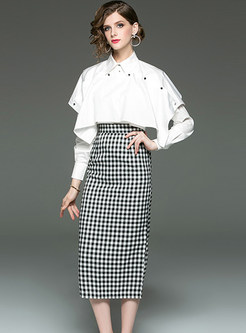 Trendy Lapel Patchwork Long Sleeve Blouse & Slim Plaid Skirt