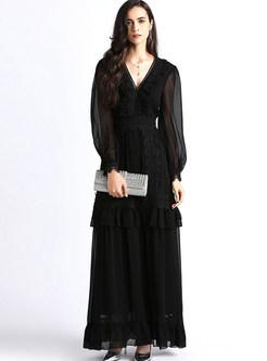 V-neck Perspective Lantern Sleeve Big Hem Maxi Dress