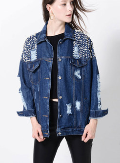 Beaded Frayed Single-breasted Denim Coat