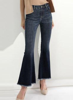 Fashionable Denim Tassel Patch Flare Pants