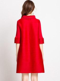 Solid Color High Neck Plus Size Shift Dress