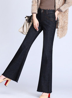 Stylish Plus Size Slim Rough Selvedge Flare Pants