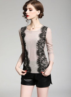 O-neck Long Sleeve Lace Splicing Slim Bottoming T-shirt