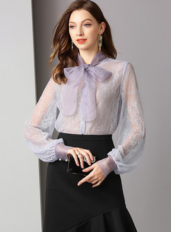Sexy Perspective Bowknot Tied Long Sleeve Blouse