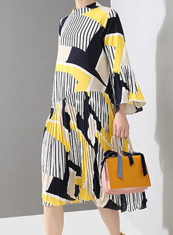 Casual Flare Sleeve Striped Color-blocked Shift Dress