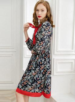 Floral Print Tie-collar Gathered Waist A Line Dress