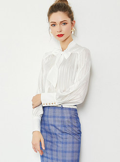 Brief Solid Color Bowknot Standing Collar Blouse
