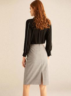 Solid Black Long Sleeve Blouse & Houndstooth Slim Skirt