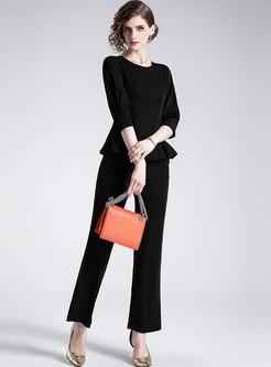 Pure Color Three Quarters Sleeve Slim Top & Straight Pants