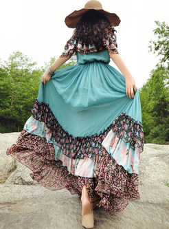 Bohemian Slash Neck Print Falbala Splicing Maxi Dress