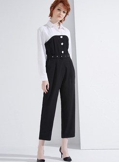 Work Color-blocked Splicing High Waist Jumpsuits
