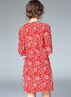 Vintage V-neck Short Sleeve Print Silk Tied Mini Dress